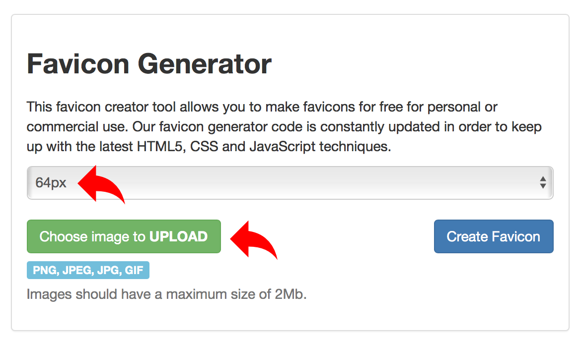 How to create and upload a favicon